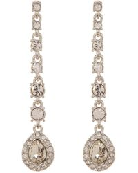 Givenchy - Prong Set Round & Pear Cut Glass Crystal Linear Drop Earrings - Lyst