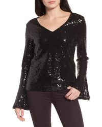 Halogen - Flare Sleeve Sequin Top - Lyst