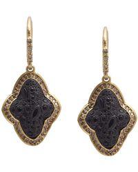 Armenta - Old World Blackened Sterling Silver & 18k Yellow Gold Pave Black Sapphire & Diamond Drop Earrings - Lyst