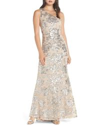 Vince Camuto - One-shoulder Sequin Chiffon Evening Dress - Lyst