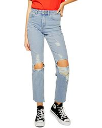 TOPSHOP Ripped High Waist Cropped Jeans (bleach Blue)