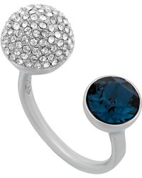 Swarovski - Forward Palladium Plated Bezel Set Blue Crystal & Pave Sphere Bypass Ring - Size 6.75 - Lyst