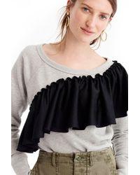 J.Crew | Asymmetrical Ruffle Sweatshirt | Lyst