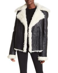 Theory - Genuine Lamb Fur Lined Leather Peacoat - Lyst