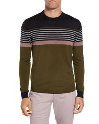 aa075ac628fbf Lyst - Ted Baker Giantbu Stripe Crew Neck Jumper in Black for Men