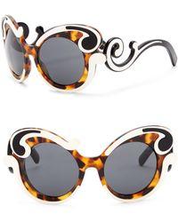 Prada - 52mm Round Baroque Sunglasses - Lyst