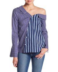 Lea & Viola - One Shoulder Poplin Stripe Blouse - Lyst