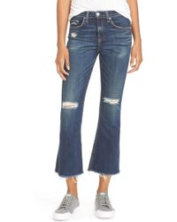 Rag & Bone - Ripped High Rise Crop Flare Jeans - Lyst