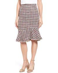 Halogen - Tweed Ruffle Hem Skirt - Lyst