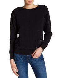 True Religion - Distressed Embellished Boyfriend Sweatshirt - Lyst