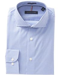 4a1a0f6b5 Lyst - Tommy Hilfiger Men's Classic-fit Non-iron Blue Check Dress ...