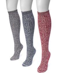 Muk Luks - Cable Knee High Socks - Pack Of 3 - Lyst