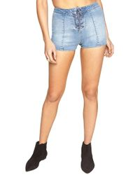 Amuse Society - Daisy Chain High Waisted Denim Shorts - Lyst