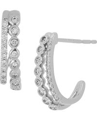 Bony Levy - 18k White Gold Bezel & Prong Set Diamond Double Row Huggie Earrings - 0.25 Ctw - Lyst
