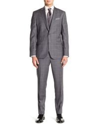Ted Baker - Jay Gray Windowpane Two Button Notch Lapel Wool Trim Fit Suit - Lyst