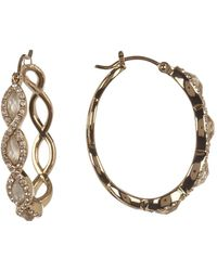 Judith Jack - Gold Plated Sterling Silver Bezel Set Swarovski Marcasite Scalloped Hoop Earrings - Lyst