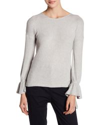 Lucky Brand - Tie Sleeve Ribbed Pullover - Lyst