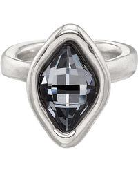 Uno De 50 - Sor Tija Marquise-cut Gray Swarovski Crystal Ring - Lyst