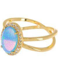 Melinda Maria Luna Ring Gold Blue Opal