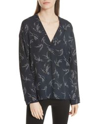 Vince - Spring Floral Long Sleeve Popover Blouse - Lyst