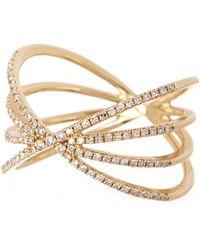 EF Collection - 14k Yellow Gold Pave Diamond Sunburst Ring - Size 7 - 0.30 Ctw - Lyst