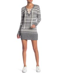 Dex - Striped Lace-up Pullover - Lyst