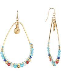 Chan Luu - Stone Beaded Frontal Hoop Dangle Earrings - Lyst