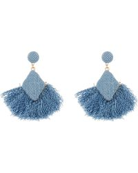 Shashi - Dana Fringe Drop Denim Earrings - Lyst