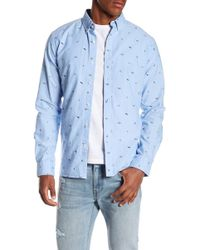 Knowledge Cotton Apparel | Oxford Embroidered Button Down Shirt | Lyst