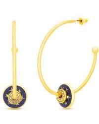 """Steve Madden - Gold-tone Crystal Star Sliding Disc Open Large 1-7/10"""" Hoop Earrings - Lyst"""