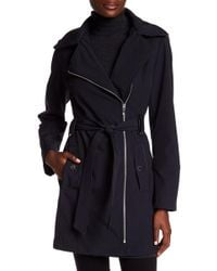 Via Spiga - Asymmetrical Collar Belted Hooded Coat - Lyst