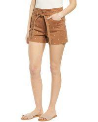 Tinsel - Polka Dot Belted Denim Shorts - Lyst
