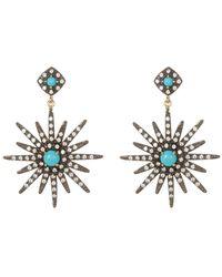 Adornia - 14k Gold Vermeil Turquoise & Swarovski Crystal Accented Starburst Earrings - Lyst