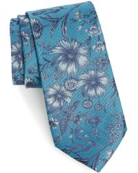 Calibrate | Fletcher Floral Print Silk & Cotton Tie | Lyst