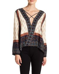 Gypsy 05 - Criss Cross Wrap Printed Blouse - Lyst