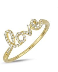 Bony Levy - 18k Yellow Gold Diamond Accent Love Ring - 0.13 Ctw - Lyst