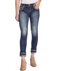 Miss Me Embellished Mid Rise Skinny Jeans - Blue