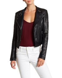 Lamarque - Stitched Leather Moto Jacket - Lyst