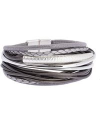 Saachi - Sophisticated Hammered Tube Leather & Faux Suede Multi-strand Bracelet - Lyst
