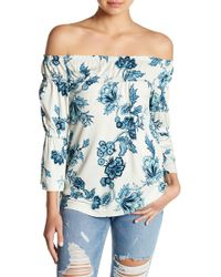 William Rast - Lexie Off-the-shoulder Floral Print Blouse - Lyst