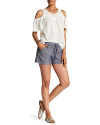 Max Studio - High Rise Drawstring Linen Shorts - Lyst