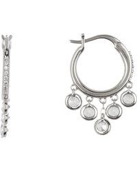 Nadri - Small Shaker Cz Dangle Hoop Earrings - Lyst