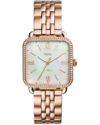 Fossil - Women's Micah Crystal Embellished Mother Of Pearl Bracelet Watch, 32mm - Lyst