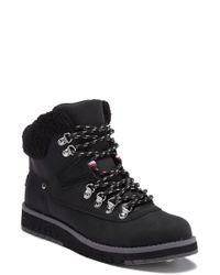 f11e280eb500 Tommy Hilfiger - Hayet Faux Fur Trim Lace Boot - Lyst