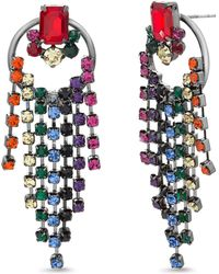 Steve Madden - Rhinestone Fringe Drop Earrings - Lyst