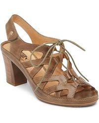 Pikolinos - Java Block Leather Heel Sandal - Lyst