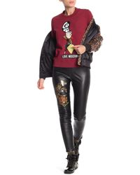 Love Moschino - Cropped Faux Leather Print Pants - Lyst