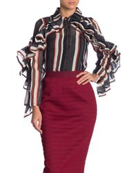 Gracia - Striped Ruffle Sleeve Shirt - Lyst