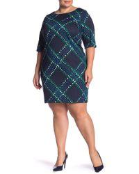 bc1fc0ac79b5 Eliza J - Elbow Sleeve Printed Shift Dress (plus Size) - Lyst