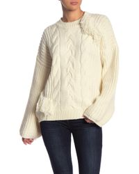 Lush - Cable Knit Fringe Sweater - Lyst